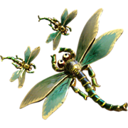 """Walter Lampl Art Nouveau Style Enameled """"Dragonfly"""" Brooch & Clip Earrings"""