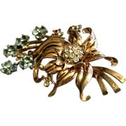 """Pennino"" Sterling Silver, Gold Vermeil Floral Brooch w/Diamond, Blue Sapphire & Rub"