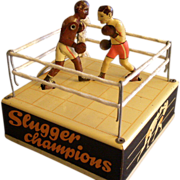"""SOLD Hans Biller Company, Germany, """"Slugger Champions"""" Lithographed Tin Wind-Up Toy"""