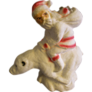 "SOLD German Paper Mache ""Santa Riding A Polar Bear"" Candy Container"