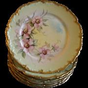 Set of 6 T&V Limoges Hand Painted Salad/Dessert Plates w/Pink Wild Roses ...