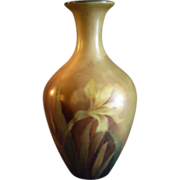 Home-Studio Hand Painted Vase w/Naturalistic Daffodil Floral Motif