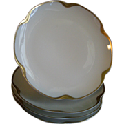 """Set of 4 Haviland & Co. Limoges """"Silver Anniversary"""" Coup-Style B & B Plates, Schlei"""