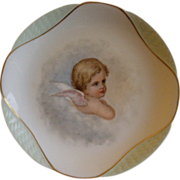 Charles Haviland & Co., Limoges Hand Painted Cabinet Plate w/Portrait of Child Angel