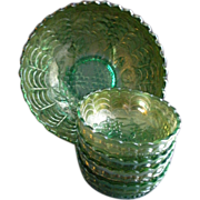 "Imperial Glass Company Green Carnival 5-Pc ""Grape"" Pattern Berry Set"
