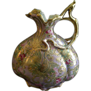 SOLD Nippon Hand Painted Ewer w/Floral & Scroll Motif