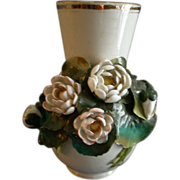 Voight Brothers - Sitzendorf Porcelain Vase w/Applied Water Lily Blossoms