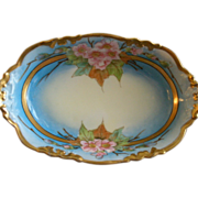J.H. Stouffer Hand Painted Relish Dish w/Vivid Apple Blossom Floral Motif
