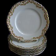 """Set of 6 Haviland & Co. Limoges """"Red Flowers & Green Leaves"""" Pattern Salad/ Dessert"""