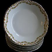 "Set of 6 Haviland & Co. Limoges ""Red Flowers & Green Leaves"" Pattern Soup Bowls - Ra"