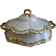 """Haviland & Co. Limoges """"Red Flowers & Green Leaves"""" Pattern Round Covered Vegetable"""