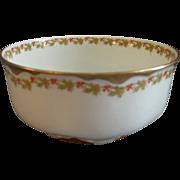 "Haviland & Co. Limoges ""Red Flowers & Green Leaves"" Pattern Serving/Waste Bowl  - Ra"