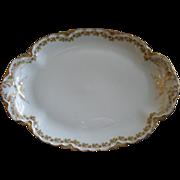 "Haviland & Co. Limoges ""Red Flowers & Green Leaves"" Pattern Oval Serving Platter  -"
