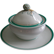 David Haviland & Co., Limoges Factory Decorated Covered Condiment or Individual Cream Soup w/A