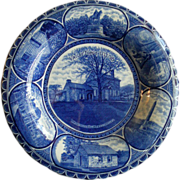 """Rowland & Marsellus Blue-Transfer """"Valley Forge 1777-78"""" Shallow Bowl"""