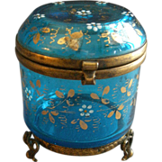 Moser Enameled Blue Glass Covered Vanity Box/Jewelry Casket