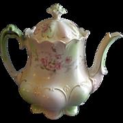 MZ Austria Transfer Decorated Teapot w/Pink Rose Blossom Motif