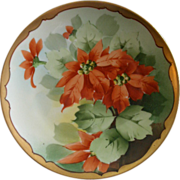 Howard Reury Studio Hand Painted Cabinet Plate w/Poinsettia Floral Motif