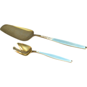 Jacob Tostrup Sterling Silver & Blue Enamel Pastry/Dessert Server & Sugar/Condiment Sp