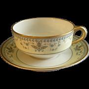 "Haviland & Co. Limoges Arts & Crafts ""English Oatmeal"" Pattern - Set of 6 Cu"