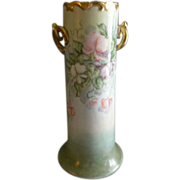 Porcelain Hand Painted Vase - Pastel Colored Sweet Pea Floral Motif - Artist Signed