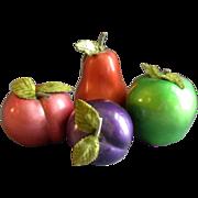 SOLD Vintage Enesco Ceramic Fruit - 4 Pieces, Pear, Apple, Plum & Peach