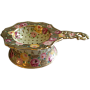Royal Kinron Crown Nippon Hand Painted Tea Strainer & Cup Set