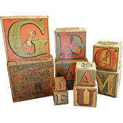 J. A. Crandall's Mammoth ABC Wood Alphabet Blocks - Complete Nesting Set of 10