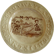 """English Staffordshire """"A B C"""" Plate w/Children in the Country Transfer Decoration"""