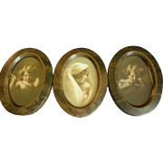 Triple Oval Framed Miniature M B Parkinson & Partridge Prints - Cupid Awake, Cupid Asleep
