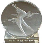 """Lalique Society of America 1992 Olympic Commemorative 'Skating"""" Paperweight"""