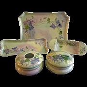 Porcelain Hand Painted 7-Piece Dresser/Vanity Set w/Wild Violets Motif