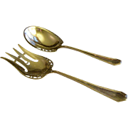 "Dominick & Haff Sterling Silver ""Queen Anne - Plain"" Pattern 2-Piece Salad Set"