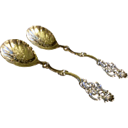 Pair - Thorvald Marthinsen - Norway 830 Silver - 'Fancy' Pattern #408 Serving Spoons