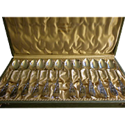 Jacob Tostrup - Norway 830 Silver - Set of 12 Arts & Crafts Demi-Tasse Spoons in Original Box