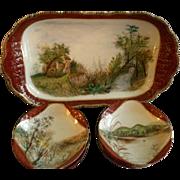 Charles Haviland & Co., Limoges Hand Painted Scenic Ice Cream Platter w/Ten Dessert Bowls, ...
