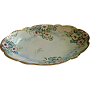 Favorite Bavaria Hand Painted Oval Serving Bowl w/Wild Roses, Daisies & Forget-Me-Not Floral .