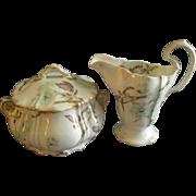 Theodore Haviland Sugar Bowl & Cream Pitcher - St Cloud Series w/Floral Motif - Schleiger #116
