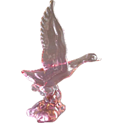 """Heisey by Dalzell-Viking Lavender Ice 'Mallard Duck - Wings Up"""" Crystal Figurine - Marked"""