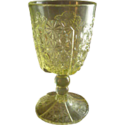 SOLD EAPG - Daisy and Button w/Thumbprint Panel Goblet - Vaseline Glass