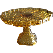 SOLD EAPG - Daisy and Button w/Thumbprint Panel Pedestal Cake Stand - Amber Glass