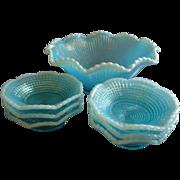 Model Flint Glass Company - Blue Opalescent 'Ribbed Spiral' Pattern 7-Piece Fruit/Dessert Bowl