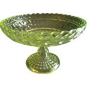 Central Glass Company Vaseline (Uranium) Glass 'Lattice & Thumbprint' Open Compote #796