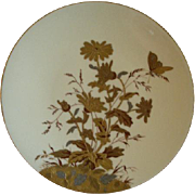 Porcelain Hand Painted Plate w/Gold, Silver & Burgundy Encrusted Floral & Butterfly Motif