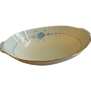 "Hutschenreuther Porcelain Hand Painted ""Forget-Me-Not"" Pattern Large Oval Serving Bo"