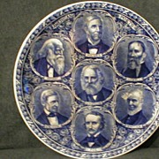 """SOLD Rowland & Marsellus Blue-Transfer """"American Poets"""" Plate"""