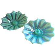 """Fostoria Glass Green Opalescent 'Heirloom"""" Pattern - Pair of Candle Holders"""
