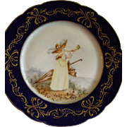 Jean Pouyat (JPL) Limoges Hand Painted Portrait Plate of a Young Lady Playing An English ...