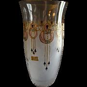 "Vintage Egermann Czech Republic ""Art Deco' Design Enameled & Stained Glass Vase"