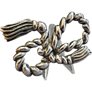 Vintage Mexican Sterling Silver 'Nautical Rope Figure Eight' Design Brooch